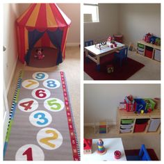 Montessori-inspired playroom for our 16-month old. Still not quite finished but she loves it!