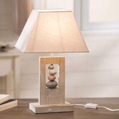 Lampe déco contemporaine en bois et galets Kapas