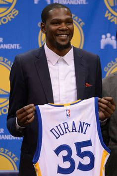 The Golden State Warriors introduce Kevin Durant at a press conference at Warriors headquarters in Oakland, CA on July 7, 2016.