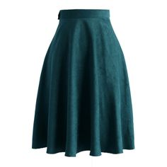 Chicwish Faux Suede A-line Skirt in Turquoise ($42) ❤ liked on Polyvore featuring skirts, chicwish, green, knee length a line skirt, faux suede skirt, blue green skirt, blue skirt and turquoise skirt