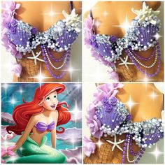 Ariel The Little Mermaid Rave Bra by TheLoveShackk on Etsy