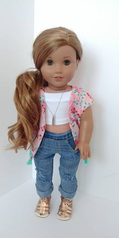 girl dolls Excited to share the latest addition to my shop: Fits like American girl doll clothing. American Girl Outfits, Ropa American Girl, American Girl Doll Room, American Girl Hairstyles, American Girl Doll Pictures, Ag Doll Hairstyles, Kimono Shirt, My Life Doll Clothes, Barbie Clothes
