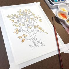"""Starting out the painting process with some lovely orange-yellow leaves. I chose to paint an oak because they are native to my own state of California. . This new piece is going to be apart of the Changeling Artist Collective auction """"Operation Gaia"""". All funds raised will benefit the National Audubon Society in helping save birds and conserve and restore their natural habitats. . #operationgaia #changelingartistcollective . . . #art #instaartist #artoftheday #instaart #dailyarts…"""