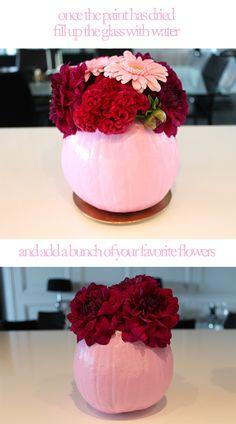 pink pumpkin-vases     Pink Pumpkins for Breast Cancer Awareness Month      #breastcancerawareness