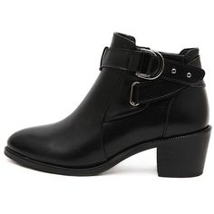 Black Fleece Lining Buckle Detail Side Zipper PU Ankle Boots (2,740 PHP) ❤ liked on Polyvore featuring shoes, boots, bootie boots, buckle shoes, polyurethane boots, short boots and shootie shoes