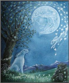 Hare Print Moon Her Mother the Moon by Eveningstardust on Etsy - Lisa O'Malley Art And Illustration, Illustrations, Fantasy Kunst, Fantasy Art, Lapin Art, Into The Fire, Rabbit Art, Bunny Art, Arte Popular