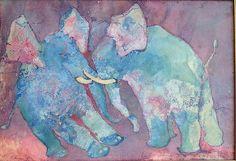 Edwin Salomon Elephants Israeli Jewish Romanian s Mixed Media Modernism Fashion Branding, Great Artists, Elephants, Moose Art, Mixed Media, Art Gallery, Modernism, Painting, Israel