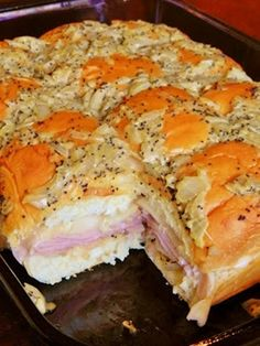 Kings Hawaiian Baked Ham & Swiss Sandwiches - used only stick of butter an pound of Swiss. Maybe try adding some pineapple in next time.Hawaiian Baked Ham and Swiss Sandwiches ~ The Kitchen Life of a Navy Wife Think Food, I Love Food, Good Food, Yummy Food, Great Recipes, Favorite Recipes, Recipe Ideas, Amazing Recipes, Delicious Recipes