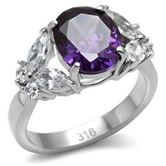 Stainless Steel Oval Purple CZ & Clear Butterfly CZ Accent Ring Size 5