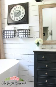 Shiplap in the bathroom | The Rustic Boxwood | farmhouse style, farmhouse charm, rustic, shiplap, metal, farmhouse bathroom, decorating, style, ascp, vanity, bathroom decor, freestanding tub, white, neutral, metal storage, bhg, marble
