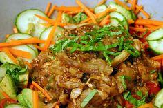 thai vegetable and smoky eggplant salad – smitten kitchen Eggplant Dishes, Eggplant Recipes, Thai Eggplant, Vegetarian Main Dishes, Vegetarian Recipes, Roasted Eggplant Salad, Cold Side Dishes, Asian Recipes, Ethnic Recipes