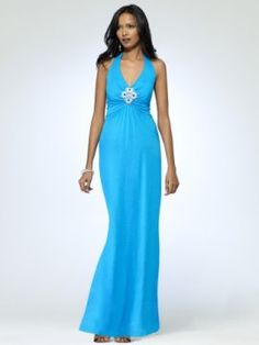 Blue Halter maxi dress ties behind neck. Silver and gemstone medallion at bus [#O5350A70254200] - $158.00 : Crazeparty.com, Dare to be Different!