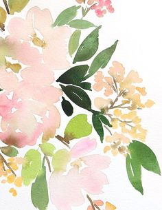 "This is the original watercolor painting. Art prints are sold exclusive through Minted! Coordinates with Floral in Peach I. 11"" x 14"" (dimension refers to paper size) on 140 lb Fabriano Cold-Press watercolor paper. *Actual painting may vary slightly in color from a monitor display. Every painting is signed, dated and shipped via USPS Priority with insurance. Visit our shop policy for more on shipping! *Total price reflects shipping method and insurance"