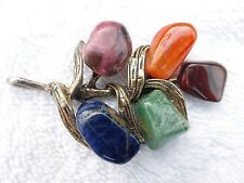 Signed Miracle with five different polished natural gem stones pendant I10