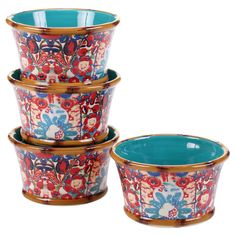 Certified International Imperial Bengal by Tracy Porter Ceramic Bowls 22oz Turquoise - Set of 4