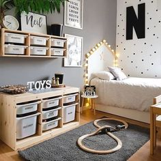 L - kinderzimmer mommo design: 10 IKEA TROFAST HACKS There are some other tricks of the painted furn Ikea Boys Bedroom, Baby Bedroom, Baby Boy Rooms, Ikea Kids Playroom, Playroom Decor, Ikea Baby Room, Childs Bedroom, Bedroom Furniture, Bedroom Decor Kids