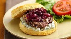 Caramelized Red Onion-Feta Burgers