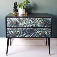 SOLD Upcycled Mid Century Tropical Botanical Palm Print Pair of Drawers Sideboard Upcycled Furniture Botanical century drawers mid Pair Palm Print Sideboard SOLD Tropical Upcycled Upcycled Furniture, Furniture Projects, Vintage Furniture, Painted Furniture, Bedroom Furniture, Diy Furniture, Modern Furniture, Furniture Design, Wallpaper On Furniture