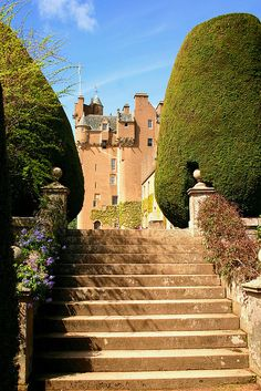 Crathes Castle Aberdeenshire, Scotland.   Crathes Castle is a 16th-century castle near Banchory in the Aberdeenshire region of Scotland. This harled castle was built by the Burnetts of Leys and was held in that family for almost 400 years.