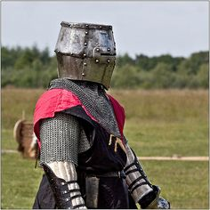 Knight in Helm The Medieval Fayre at Tatton Old Hall. Organised by Plantagenet Events.