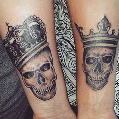 King and Queen Skull Tattoos for Couples