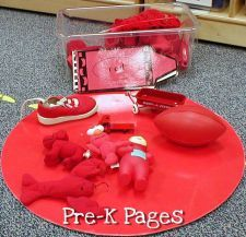 "Color sorting boxes.  For the color of the week, each friend could bring in an item of that color to be shared with the class & we could create a box of items to play with.  Kids can ""show & tell"" item..."