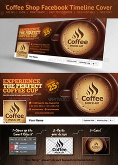 Coffee Shop Facebook Timeline Cover  Coffee Shop Facebook Timeline Cover Template.  Included all objects.  Features  Fully editable + Full layered Dimensions: 851×315px Resolution: 150 dpi RGB Colors Highly Organised Layers Clean Design