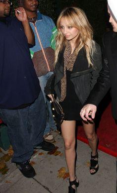 Nicole Richie wearing Balenciaga Wristlet With Giant Hardware, Christian Dior Extreme Gladiator Sandals, Rick Owens Leather Bomber Jacket,  ...