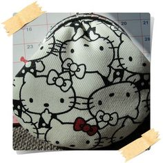 Handmade Coin Purse  Black and White Hello Kitty by Apursemarket, $20.00
