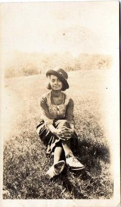 African Americans | Vintage Photo of 1920s African American Woman Sitting in a Field ...