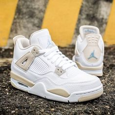 "Jordan Brand brought back the Air Jordan 4 ""Linen"" in girls sizing up to 9.5. Are you copping these for the Summer? For full details on where to get a pair, tap the link in our bio. #puma #sneakershouts #nike #FF"