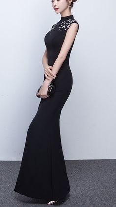 bf83cce6094fe Butmoon Womens Elegant High Neck Zipper Back Mermaid Formal Long Evening  Dress Black US10   Click on the image for additional details.
