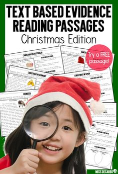 Download the Preview File for a FREE reading passage! Teach your students to USE the text and PROVE their answers with evidence! Included in this *Special Edition* text evidence reading intervention pack for 20 comprehension and fluency passages for your students. The passages have a Christmas Theme to add fun and interest into your small group reading lessons. Students will learn about traditional Christmas symbols and read facts and information about ten different holidays around the world! Fluency Activities, Reading Activities, Winter Activities, Christmas Activities, Text Based Evidence, Small Group Reading, Reading Specialist, Reading Comprehension Passages, First Grade Reading