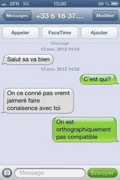 Pas compatible avec moi non plus xD Animals Tumblr, Funny Texts, Funny Jokes, 9gag Funny, Funny Text Messages, Geek Humor, Funny Pins, Funny Stuff, Funny Stories