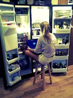 if i had a fridge like this all i would need is a plug and a mini toilet..... then ill be good to go!