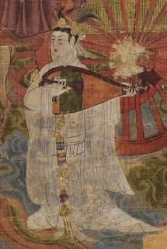 Detail The planet Venus as a beautiful Tang Dynasty woman playing the pipa (Chinese lute) with phoenix in her headdress. Tejaprabha Buddha and the Five Planets, Qianning 897 CE.