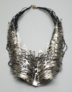 """Francis Willemstijn Necklace """"The Battle"""" new silver, linen, cotton, gold, silver"""
