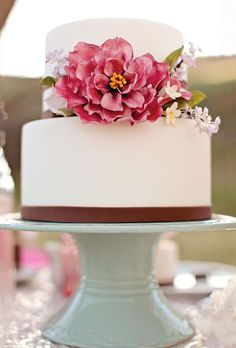 Wedding Cake with Large Pink Flower