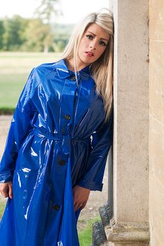 Deliciously Shiny Blue PVC Raincoat worn by a beautiful blonde