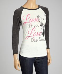 Take a look at the White 'Love Deer Season' Rhinestone Top - Women on #zulily today!