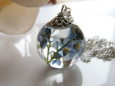 Forget me Not Necklace Resin Orb Blue Pressed by WishesontheWind
