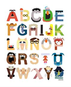 """Muppet Alphabet"" by Mike Boon    Canadian artist Mike Boon has transformed all the letters in the alphabet to look like Muppet characters.     Full-size version and the list of Muppets included in the design"