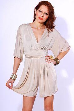 #clubwear21.com #dress #fashion Beige ruched kimono sleeve bow tie retro romper jumpsuit-$48.00