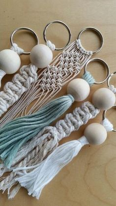 Diy Crafts Ideas Macrame keyrings -Read More – Macrame keyrings handmade kniting jewelry, bag decor and boho flowers Macrame keyrings///can also make into diffuser keychain with lava beads. I love these macrame key rings. Budget Crafting - Page 7 of 271 Macrame Art, Macrame Projects, Macrame Knots, Micro Macrame, Macrame Jewelry, Craft Projects, Macrame Rings, Yarn Crafts, Diy And Crafts
