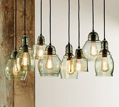 Also LOVE this for the dining room or above the kitchen counter. Paxton Glass 8-Light Pendant #potterybarn. $399 – $479