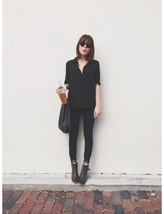 Brandy Melville Button Up Blouse, Articles Of Society Skinny Jeans, Baggu Black Leather Tote Bag, Wild Soul Sunglasses Sunglasses, American Eagle Ankle Booties