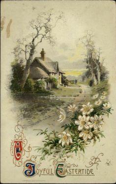 EASTER Flower Border Rural English Country Scene c1910 Postcard