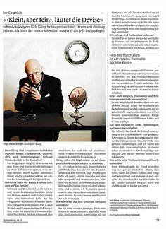 Artikel in der Weltwoche Ausgabe 49/2014 49er, Magazine Design, Devon, Gold Watch