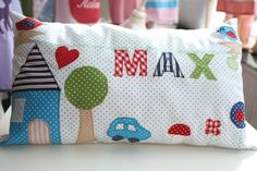 Cute Pillows, Diy Pillows, Decorative Pillows, Cushions, Throw Pillows, Sewing For Kids, Baby Sewing, Color Style, Baby Zimmer