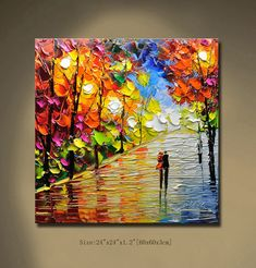 Original Abstract Painting Modern Thick Textured Painting,Park Landscape Textured Modern Palette Knife Painting, on Canvas by Chen 20403